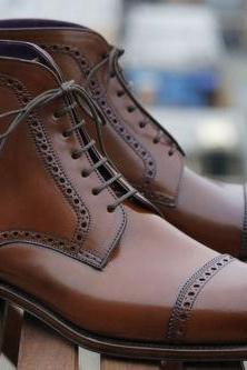 Ankle High Brown New Handmade Boot, Brown Lace up Boots Cap Toe