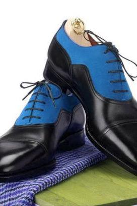 New Handmade Men Two Tone Navy Black Formal Shoes, Men's Oxford Dress Shoes