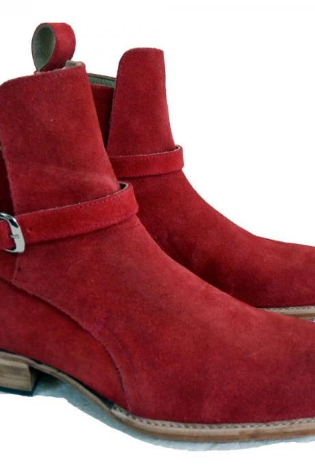 New Jodhpurs Red Suede Boots, Party Dress Boot Ankle Boots Monk Strap Leather Sole