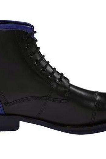 New Handmade Blue Black Men Cap Toe Leather Boots. Jean Formal Ankle Boots