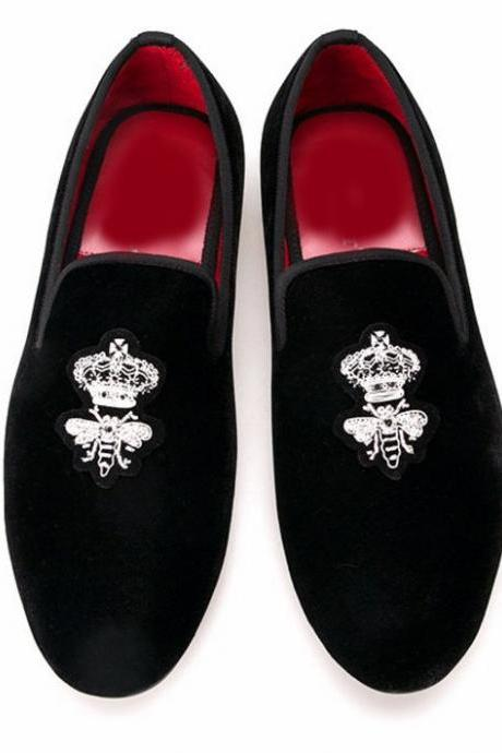 Handmade Crown BEE Black Men Velvet Loafers embroidered Slipper Party Shoes