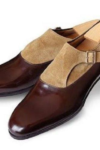 New Men Fashion Brown and beige two tone monk shoes Men formal leather shoes