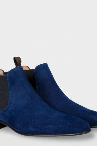 Handmade Men's Blue Boots With Toe Genuine Suede Chelsea Leather