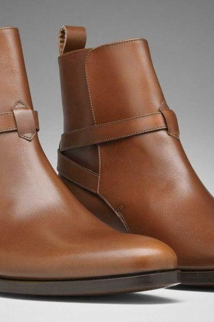 MENS JODHPUR LEATHER BOOT, MEN ANKLE LEATHER BOOT, MENS BROWN LEATHER BOOT