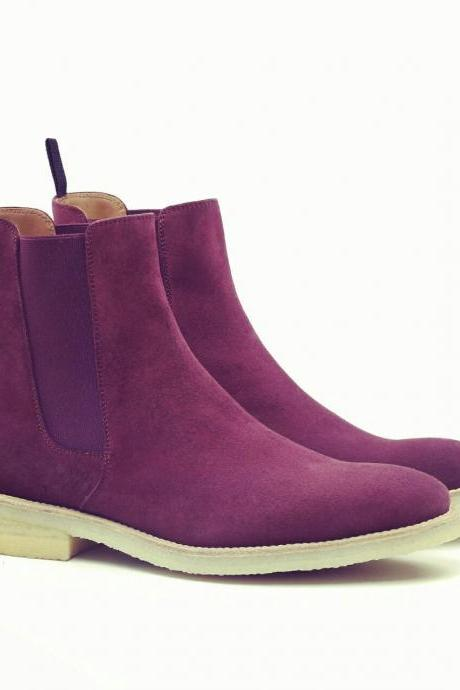 Handmade Men Purple suede leather boot, Mens Chelsea suede boots, Mens boot