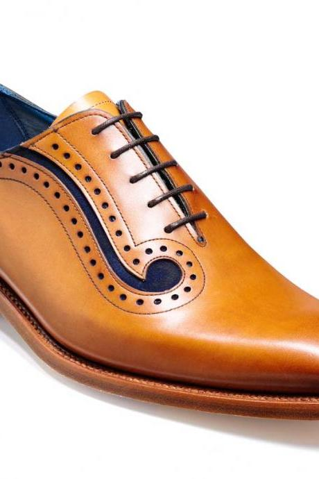 Handmade Men Tan Creative Design Shoes Fashion Dress Wedding Party Dress Shoes