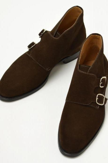 Handmade men double monk strap chukka boot,Men brown suede chukka boot, Men boot