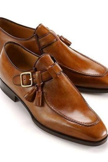 Handmade tan leather shoes, single monk strap shoe, leather shoes for men, dress
