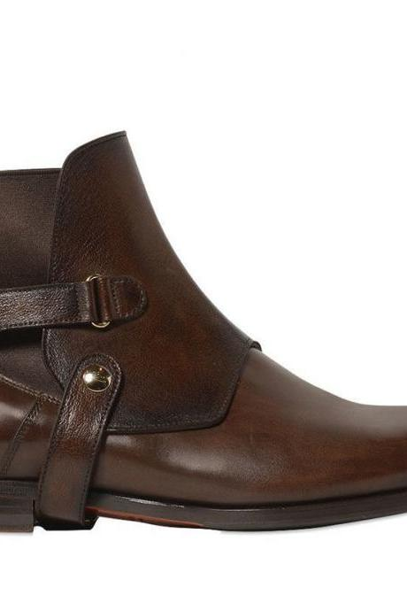 New Handmade Men's Chelsea Upper Strap detail Leather Boots, Buckle detail Boots