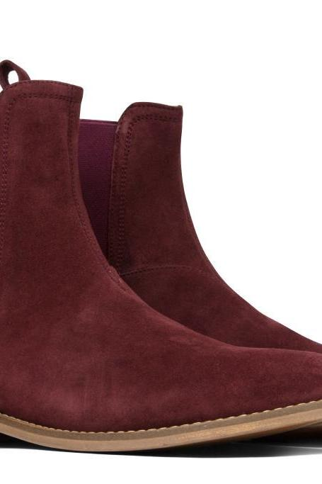 New Handmade Men Chelsea boot burgundy suede leather boot Men ankle boot men