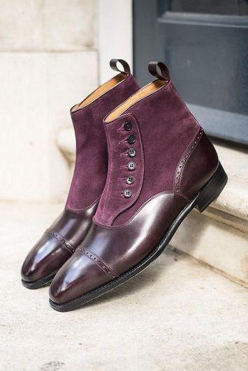New Handmade Men Fashion Burgundy Suede Buttons Top Brown Leather Boots men