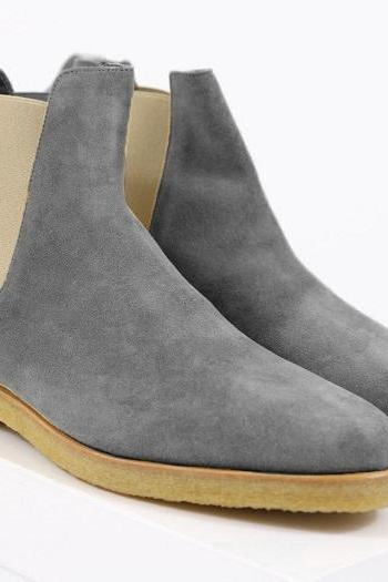 New Handmade Chelsea Gray Suede Leather Boots Men Leather Boot Crepe sole Men