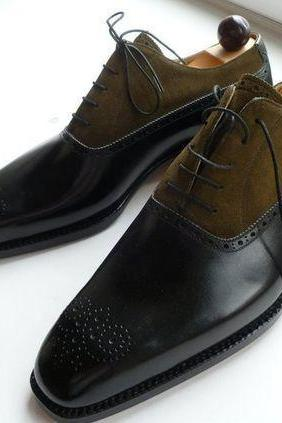 New Handmade men two tone shoes, Mens fashion laceup formal shoes, Men dress shoes men