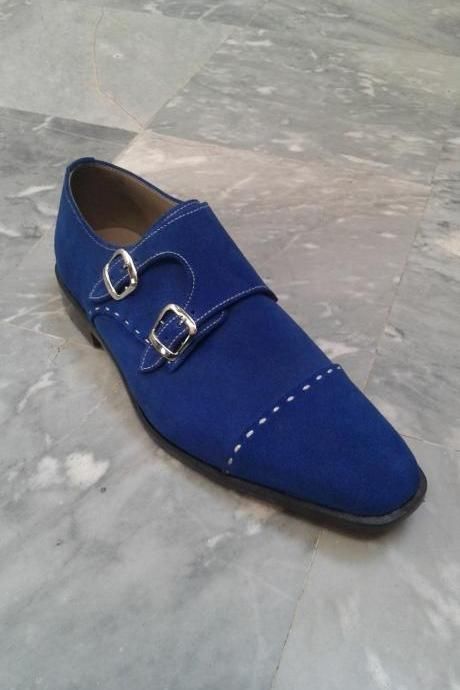 New Handmade men monk strap shoes, suede shoes, men blue shoes, formal dress shoes men