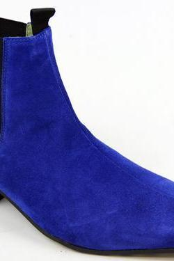 New Handmade men Blue color pointed toe suede ankle boot with cuban heel,boots men
