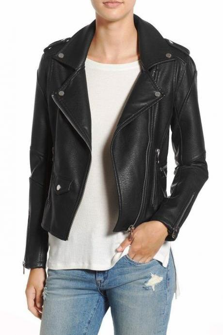 New Branded Long sleeves zip cuffs Soft Fashion Leather Jacket For Women