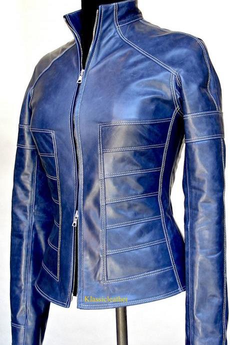 New Classic Designer New Soft Genuine Lambskin Biker Leather Jacket For Women