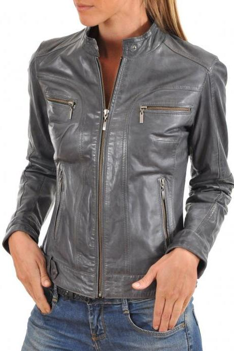 New Designer Trendy Soft Lambskin Leather Biker Jacket Stylish For Women