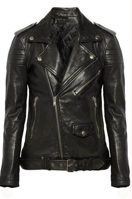 New Leather Jacket Coat Biker Motorcycle Biker Soft Black Jacket For Women