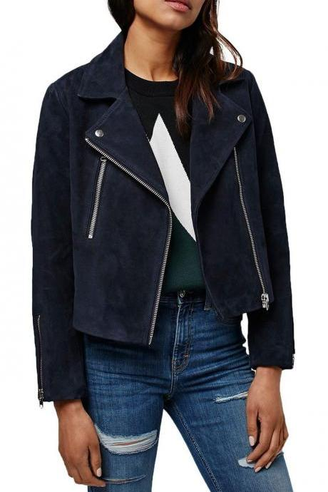 New Women Asymmetric Style Motorcycle Fitting Suede Leather Jacket For Women