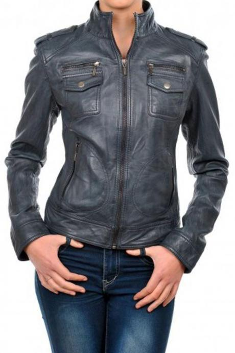 New Women's Leather Coat Jacket Genuine Lambskin Biker Leather Bomber Jacket
