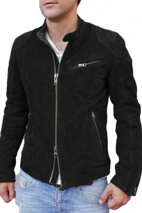 Designer Motorcycle Fashion Suede Leather Jacket For Stylish Looking Men's Black