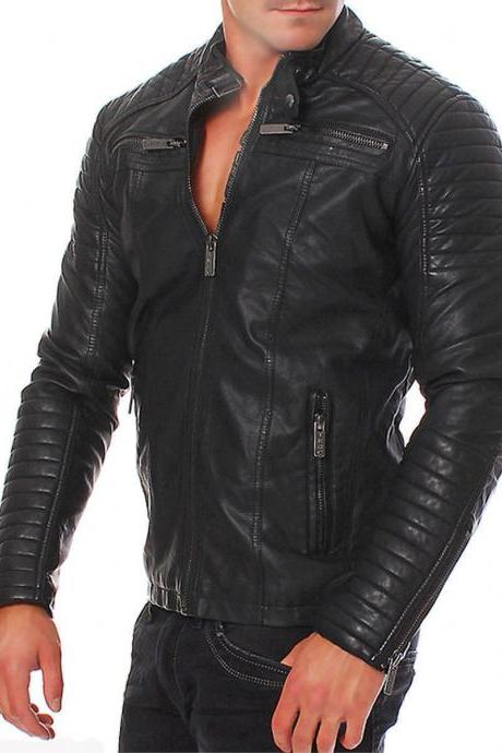 Genuine Lambskin Branded Black Slim fit Motorcycle Leather Jacket for Men's