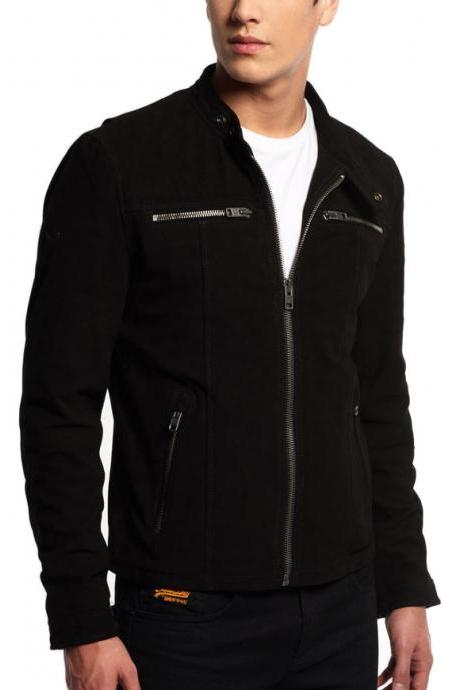 New Trendy Designer Suede Biker Fashion Style Leather Jacket Men