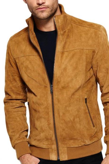 Men's New Awesome Premium Suede Brown Biker Fashion Style Leather Jacket