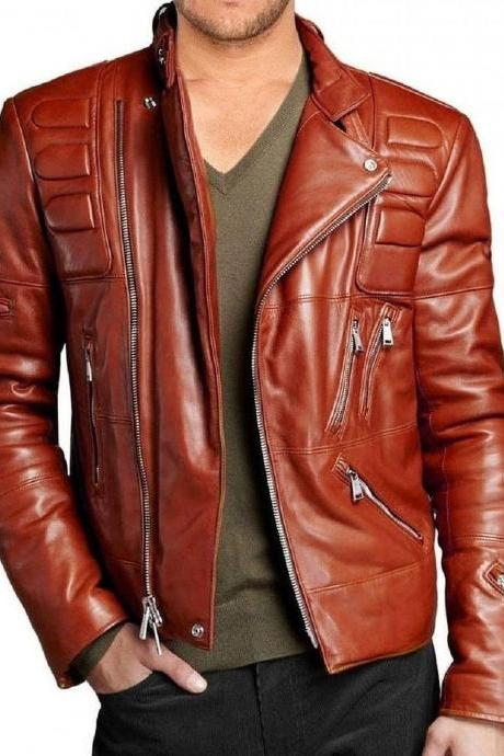 New Men Motorcycle New Quilted Soft Leather Biker Jacket For Men