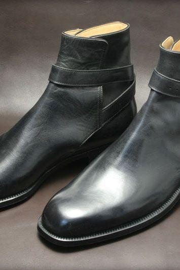 New Handmade black jodhpur boots, buckle boot for men, men leather boots, dress, men