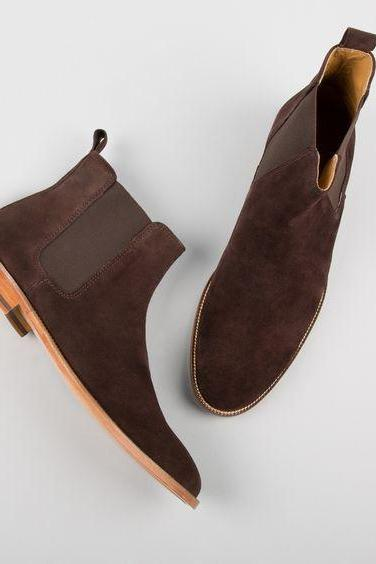 New Handmade men brown boots, suede leather boot for men, men chelsea dress boots