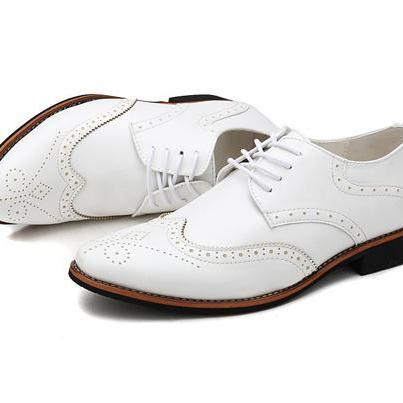 Handmade Pointed Toe Oxford Men Brogue Dress Shoes Leather Men's White Wedding Shoes