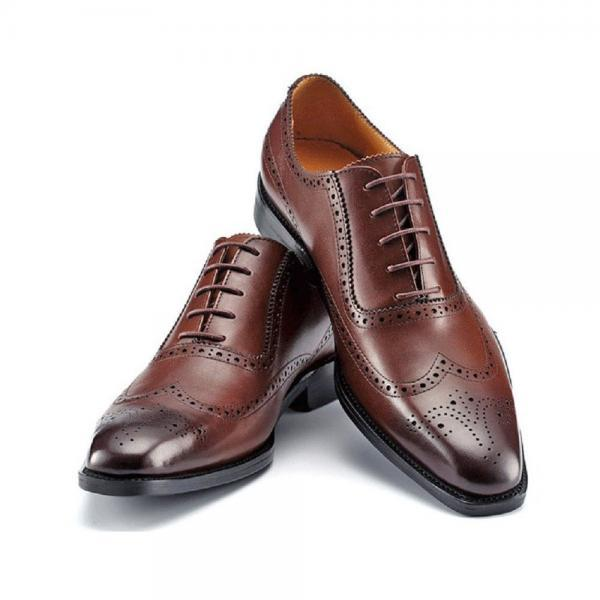 Handmade Fashion Leather Mens Lace Up Formal Dress Wingtip Oxford Shoes