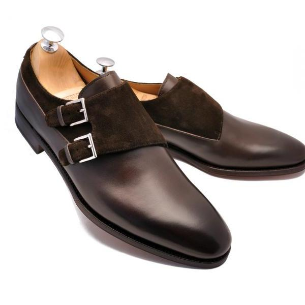 New Double Monk Leather Suede Shoes Men Formal Buckle Formal Dress Shoes