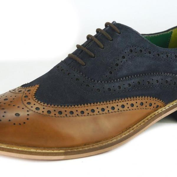 New Handmade Leather Lace Up Wingtip Formal Dress Suiting Evening Brogue Shoes