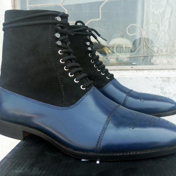New Handmade Ankle High Cap Toe Boots, Dress Men's Two Tone Jean Fashion Boots