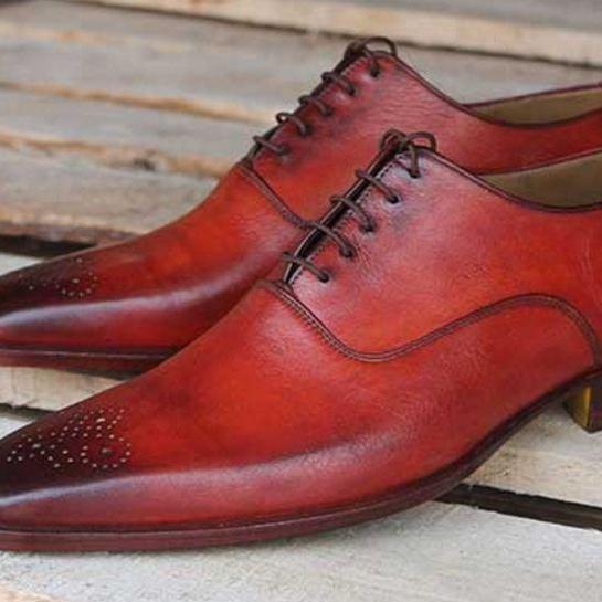 Handmade Oxford Shoes, Leather Shoes Formal Dress Tuxedo Shoes For Men
