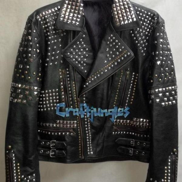 MEN BLACK ROCKY PUNK ROCK FULL STUDDED CHAINS LEATHER FASHION BIKER JACKET JACKET