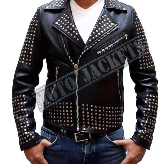 Black Studded Biker Leather jacket, Rock Punk Studded Jacket, Men Jacket