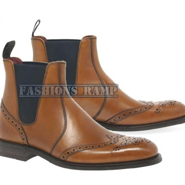 New Handmade Chelsea Brogue Boots, Formal Leather Dress Ankle High Denim Boots