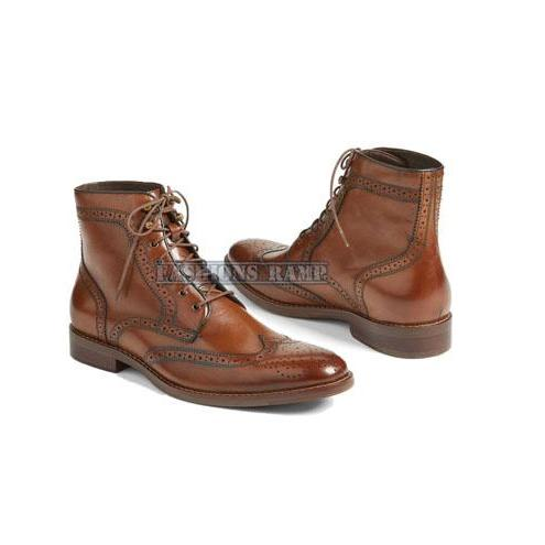Handmade Oxford Wing Tip Leather Shoes For Men, Dress Brown Brogue Boots