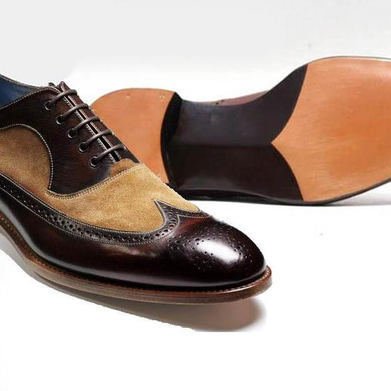 Handmade Coffee Brown Wing Toe Shoes Brogue oxford Tuxedo Men Leather Dress Shoes