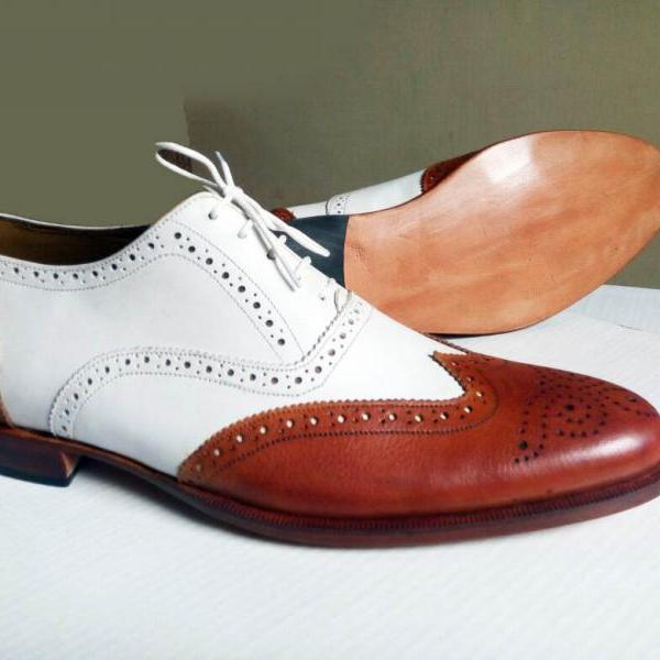 Handmade Luxury Men's White Brown Oxford Leather Suits Shoes
