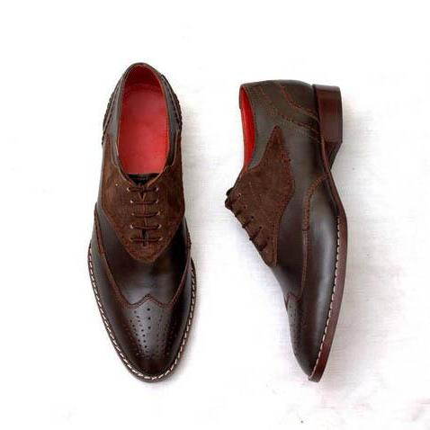 New Handmade Two Tone Brogue Shoes, Men Leather Dress Wing Tip Shoes For Men