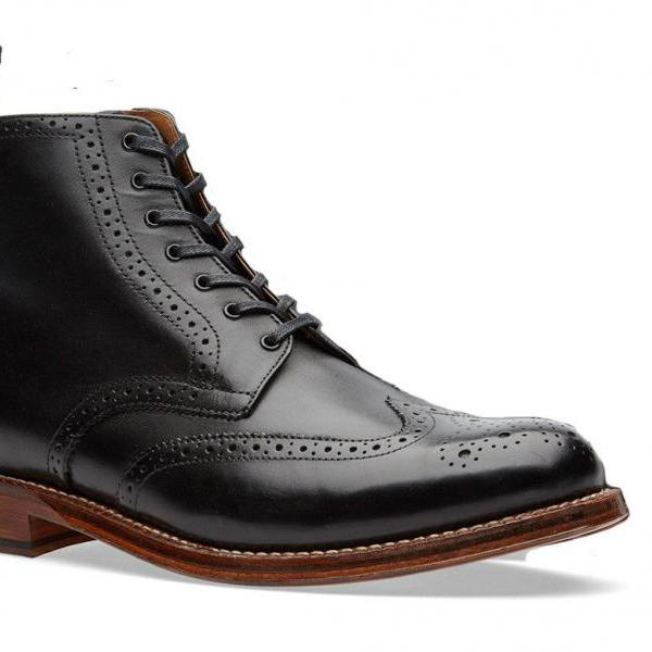 Men's Ankle High Black Brogue Handmade Boot, Black Brogue Detailing Boots