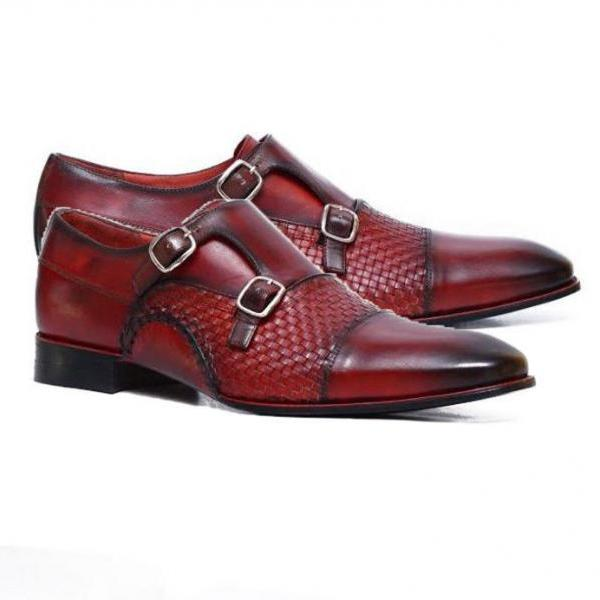 Handmade Double Monk Strap Leather Shoes Handcraft Office Dress Formal Shoes