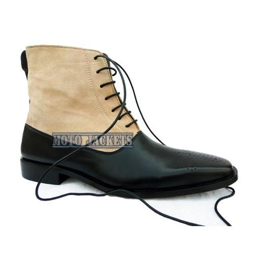 Handmade Ankle High Leather & Suede Boots, Beige Black Formal Boots