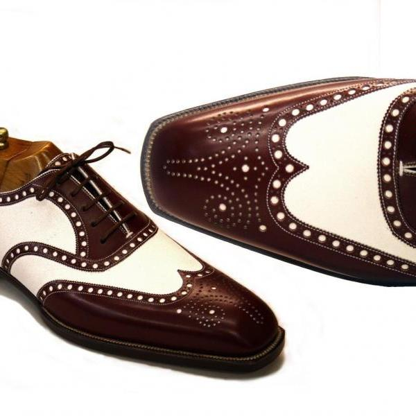 Handmade Brown Brogue Wing Tip Brogue Leather Tuxedo Casual Fashion Shoes