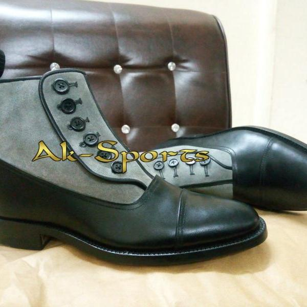 Handmade Men Chelsea Black Suede Ankle High Leather Chelsea Dress Casual Boots